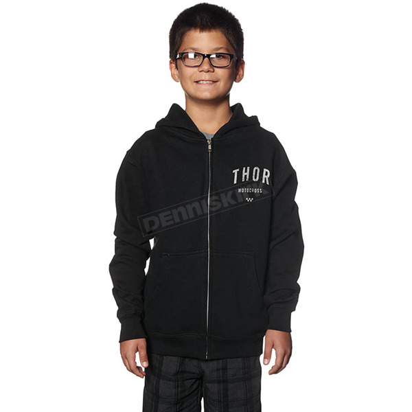 Thor Youth Black Shop Zip-Up Hoody - 3052-0329