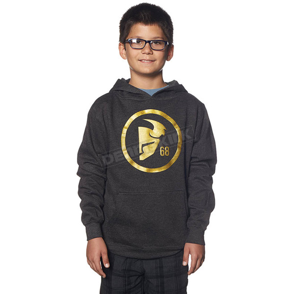 Thor Youth Charcoal/Gold Gasket Pullover Hoody - 3052-0345