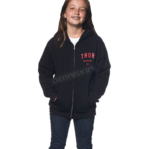 Thor Girls Black Shop Zip-Up Hoody - 3052-0350
