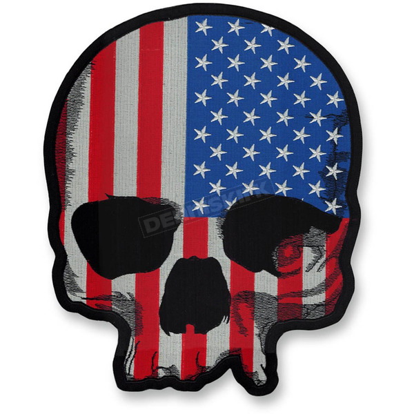 Lethal Threat USA Flag Skull Embroidered Patch - LT30180
