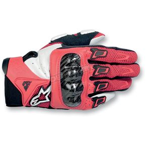Alpinestars Red/White SMX-2 Air Carbon Gloves - 3567711-32-L
