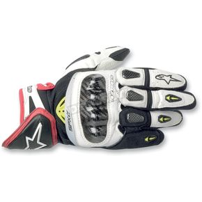 Alpinestars White/Black/Red SP-X Leather Gloves - 3567912-213-L