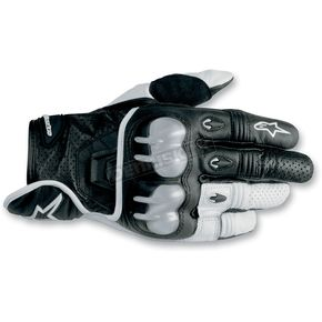 Alpinestars Black/White 2012 Octane S-Moto Leather Gloves - 3567012-12-L