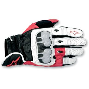 Alpinestars White/Red/Black 2012 Octane S-Moto Leather Gloves - 3567012-231-L