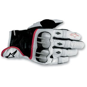 Alpinestars White/Black/Red 2012 Octane S-Moto Leather Gloves - 3567012-213-3XL