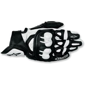 Alpinestars Black/White GPX Leather Gloves - 3567013-12-XL
