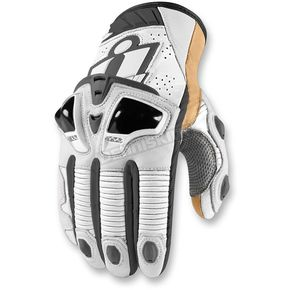 Icon White Hypersport Short Gloves - 3301-2372
