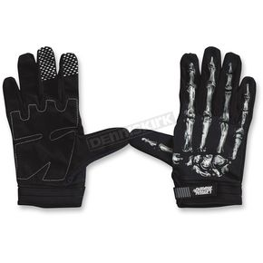 Lethal Threat Black/White Bone Hand Gloves - GL15000XXL
