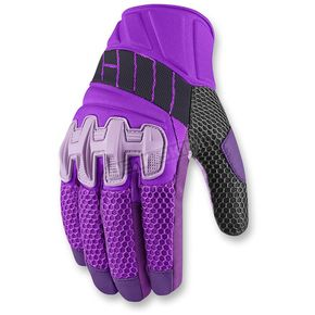 Icon Womens Purple Overlord Mesh Gloves - 3302-0409