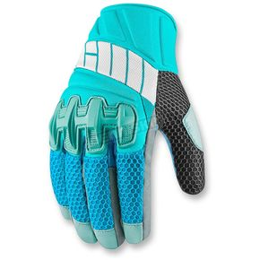 Icon Womens Blue Overlord Mesh Gloves - 3302-0414