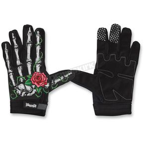 Lethal Threat Womens Black/White Rose Bone Gloves - GL15003S