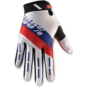 100% Red/White/Blue Ridefit Honor Gloves - 10001-080-12