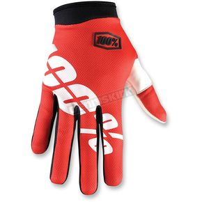 100% Red/White I-Track Fire Gloves - 10002-003-12
