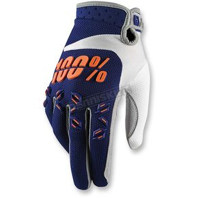 100% Blue/Orange Airmatic Gloves - 10004-015-10