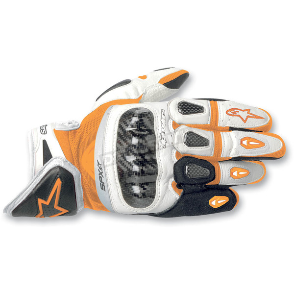 Alpinestars Orange/White/Black SP-X Leather Gloves - 3567912-421-L