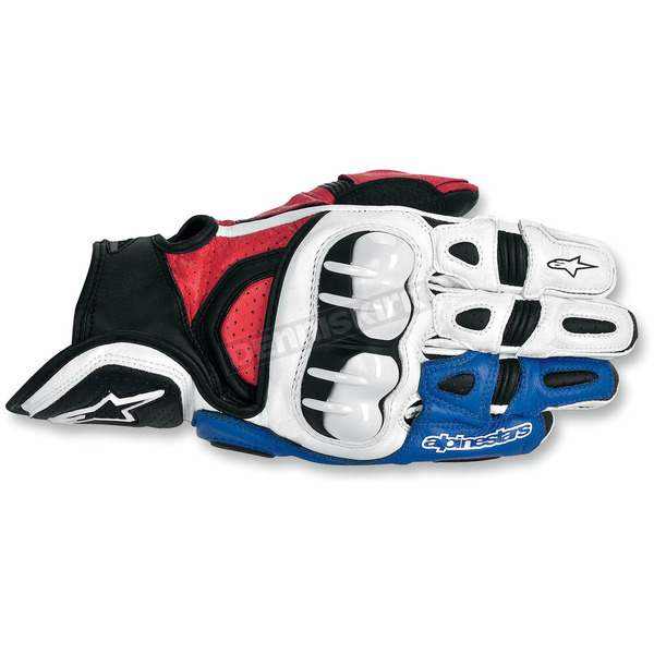 Alpinestars White/Red/Blue GPX Leather Gloves - 3567013-237-S