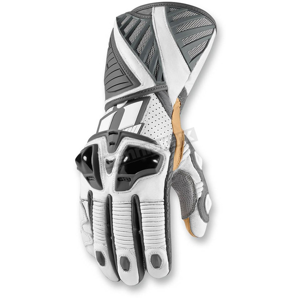 Icon White Hypersport Long Gloves - 3301-2352