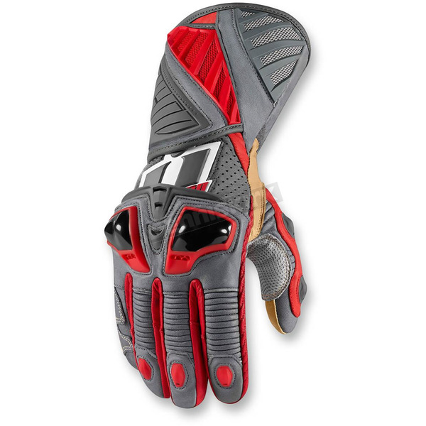 Icon Red Hypersport Long Gloves - 3301-2361