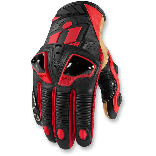 Icon Red Hypersport Short Gloves - 3301-2385