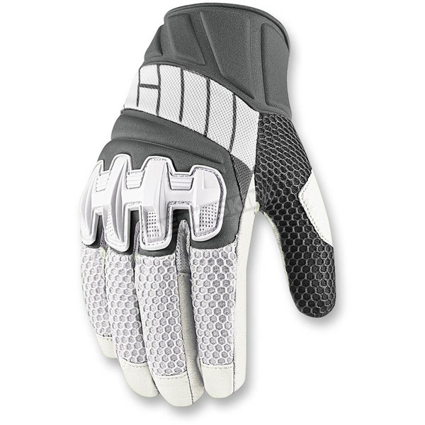 Icon White Overlord Mesh Gloves - 3301-2415