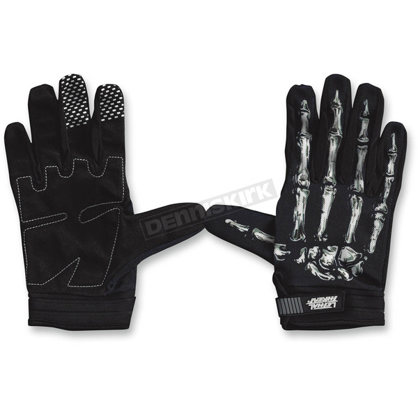 Lethal Threat Black/White Bone Hand Gloves - GL15000M
