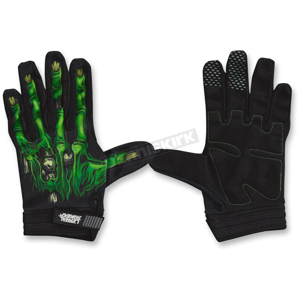 Lethal Threat Black/Green Zombie Hand Gloves - GL15001M
