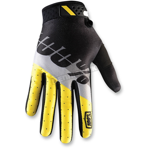 100% Yellow/Black Ridefit Max Gloves - 10001-071-10