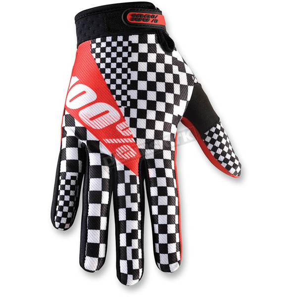100% Black/White/Red Ridefit Legend Gloves - 10001-083-11