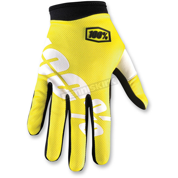 100% Yellow/Black I-Track Neon Gloves - 10002-004-11
