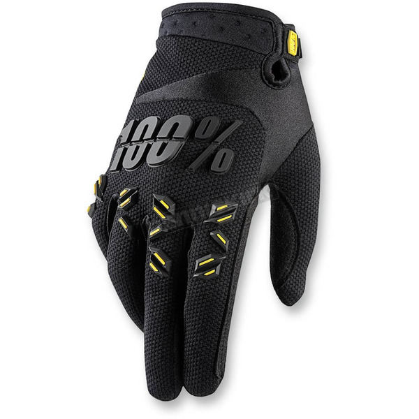 100% Black Airmatic Gloves - 10004-001-14