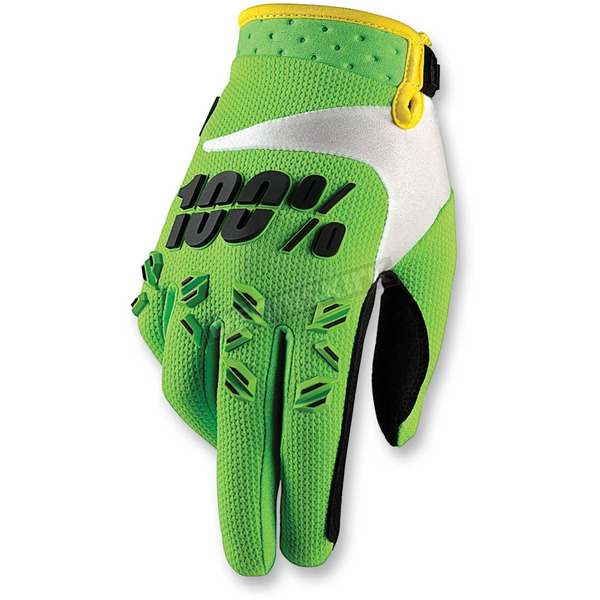 100% Youth Green Airmatic Gloves - 10004-077-05