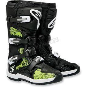 Alpinestars Black/Green Chrome Tech 3 Boots - 201307-169-10