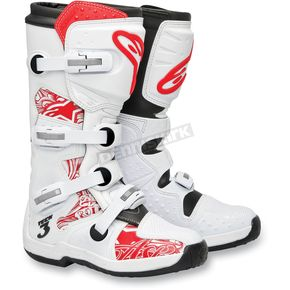Alpinestars White/Red Chrome Tech 3 Boots - 201307-230-10