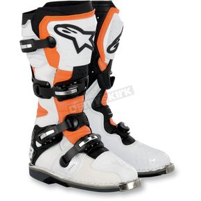 Alpinestars White/Black/Orange Vented Tech 8 Light Boots - 2011011-241-10