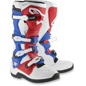 Alpinestars White/Red/Blue Tech 5 Boots - 2015015-237-13