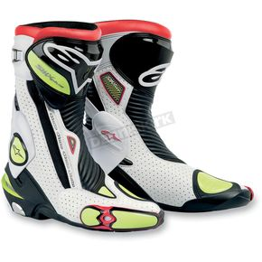 Alpinestars White/Black/Yellow S-MX Plus Boots - 2221011-214-39