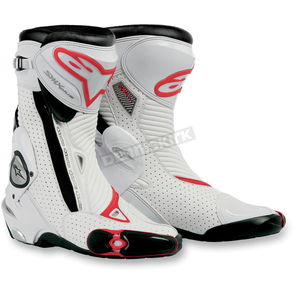 Alpinestars White/Red Vented S-MX Plus Boots - 2221011-213-41