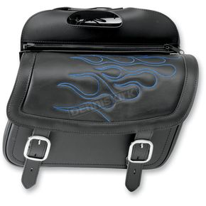 Saddlemen Jumbo Highwayman Tattoo Saddlebags w/Blue Flames - 3501-0774