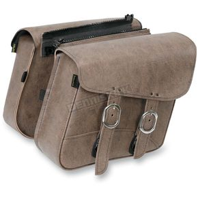 Willie & Max Compact slant Double Down Brown Saddlebags - 59766-00