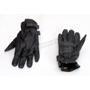 Power-Trip Jet Black Perforated Leather Gloves - 436-9012