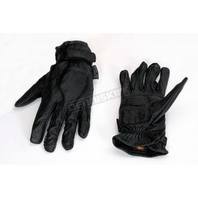 Power-Trip Women Jet Black Perforated Leather Gloves - 446-9015