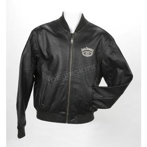 Jack Daniels Sheriff Label Graphic Leather Jacket - JDMC01L