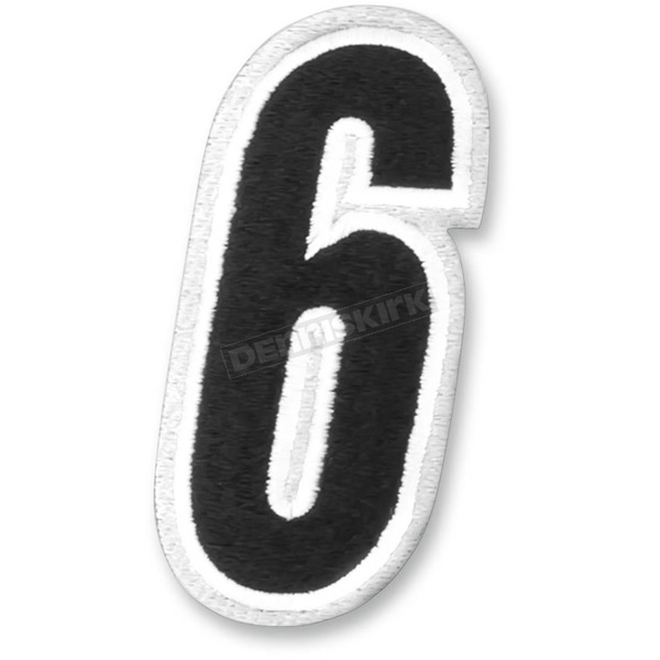 American Kargo White/Black 5 in. Number 6 Patch - 3550-0197