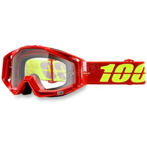 100% Corvette Red Racecraft Goggle w/Clear Lens - 50100-156-02