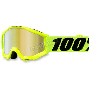 100% Youth Fluorescent Yellow Accuri Goggle w/Mirror Red Lens - 50310-004-02