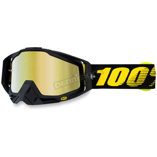 100% Raceday Black Racecraft Goggle w/Gold Lens - 50110-153-02