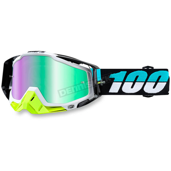 100% St Barth White Racecraft Goggle w/Green Lens - 50110-155-02