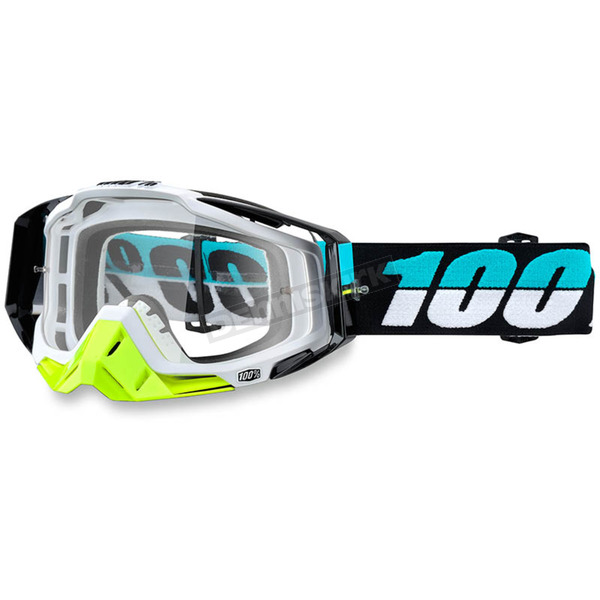 100% St Barth White Racecraft Goggle w/Clear Lens - 50100-155-02