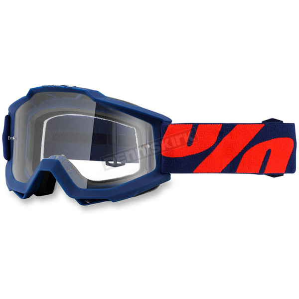 100% Raleigh Navy Accuri Goggle w/Clear Lens - 50200-158-02