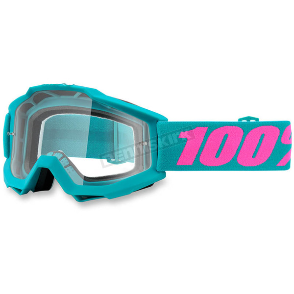 100% Passion Torquoise Accuri Goggle w/Clear Lens - 50200-165-02